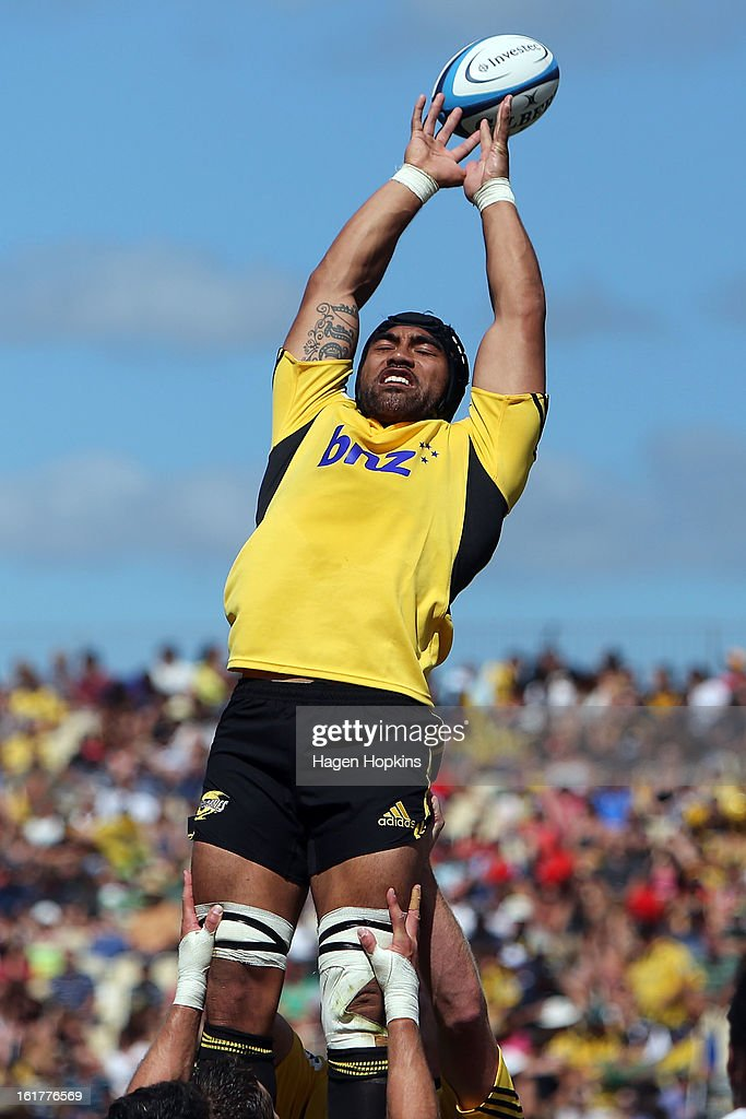 Victor Vito of the Hurricanes fails to gather a lineout ball during the Super Rugby trial match between the Hurricanes and the Chiefs at Mangatainoka RFC on February 16, 2013 in Mangatainoka, New Zealand.