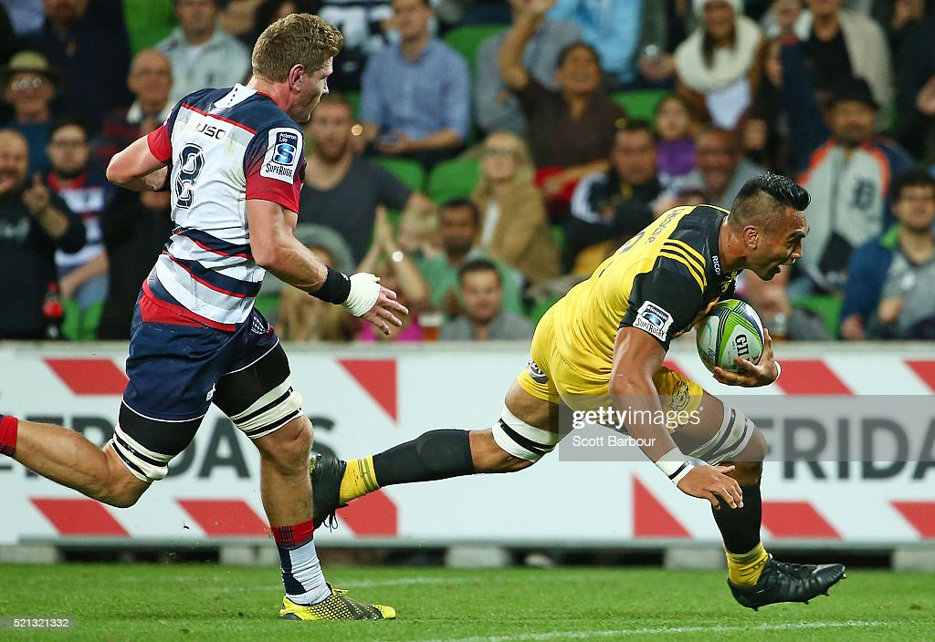 Victor Vito of the Hurricanes scores a try during the round eight Super Rugby match between the Rebels and the Hurricanes at AAMI Park on April 15...