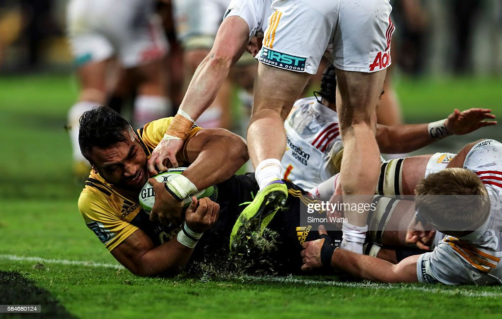 Victor Vito of the Hurricanes scores a try during the Super Rugby Semi Final match between the Hurricanes and the Chiefs at Westpac Stadium on July...