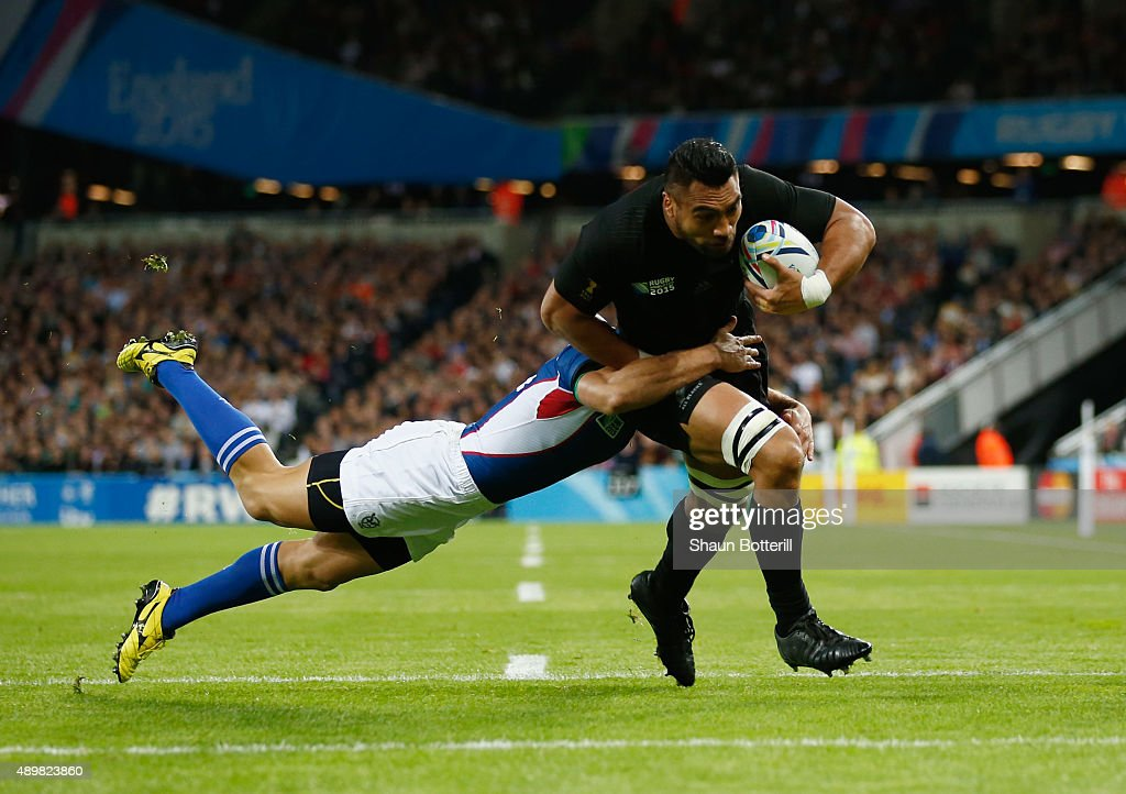 Victor Vito of the New Zealand All Blacks breaks to score the opening try during the 2015 Rugby World Cup Pool C match between New Zealand and...