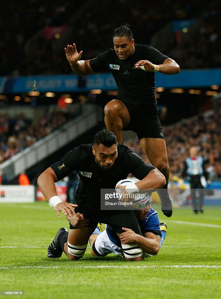 Victor Vito of the New Zealand All Blacks goes over to score the opening try during the 2015 Rugby World Cup Pool C match between New Zealand and...