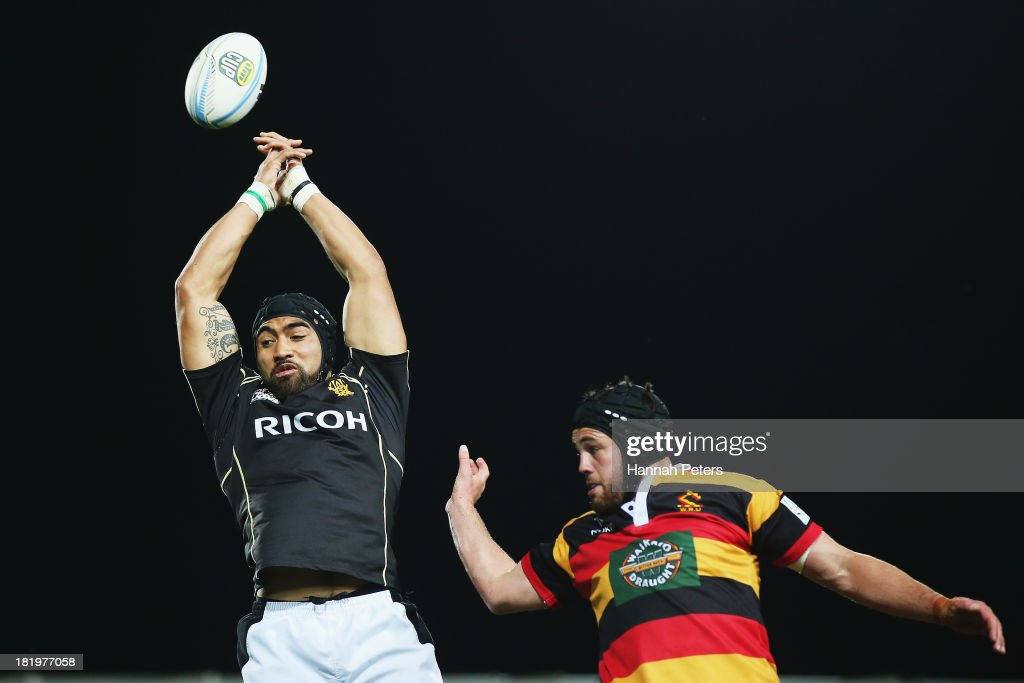 Victor Vito of Wellington competes with Adam Burn of Waikato in the lineout during the round seven ITM Cup match between Waikato and Wellington at...