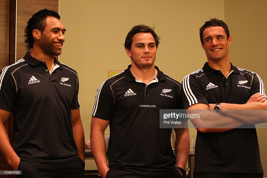 Victor Vito Zac Guildford and Dan Carter of the All Blacks look on as the New Zealand All Black team is named for the 2011 Rugby World Cup at the...