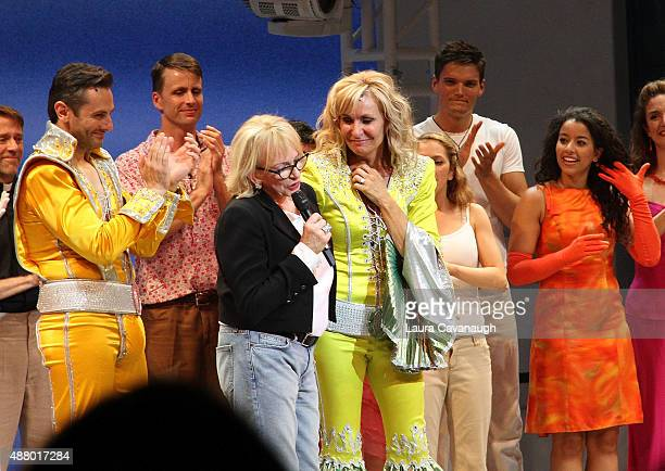 Victor Wallace Judy Craymer and Judy McLane and the cast 'Mamma Mia' Broadway final performance at The Broadhurst Theatre on September 12 2015 in New...