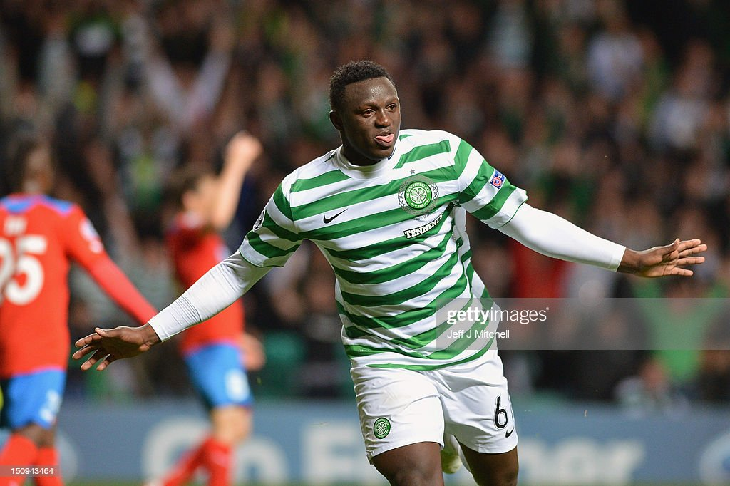 Victor Wanyama of Celtic celebrates after scoring during the UEFA Champions League Play Off Round between Celtic and Helsingborgs IF at Celtic Park on August 29, 2012 in Glasgow, Scotland.