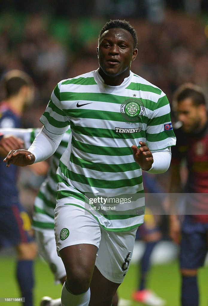 Victor Wanyama of Celtic celebrates after scoring during the UEFA Champions League Group G match between Celtic and Barcelona at Celtic Park on November 7, 2012 in Glasgow, Scotland..
