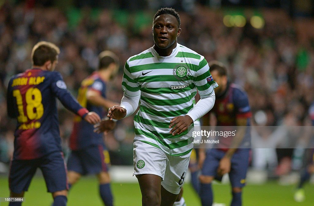 Victor Wanyama of Celtic celebrates after scoring during the UEFA Champions League Group G match between Celtic and Barcelona at Celtic Park on November 7, 2012 in Glasgow, Scotland.