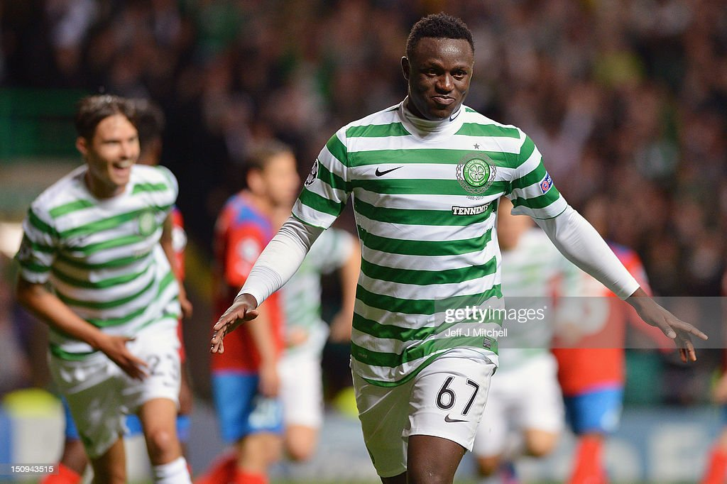 Victor Wanyama of Celtic celebrates after scoring the second goal during the UEFA Champions League Play Off Round between Celtic and Helsingborgs IF at Celtic Park on August 29, 2012 in Glasgow, Scotland.