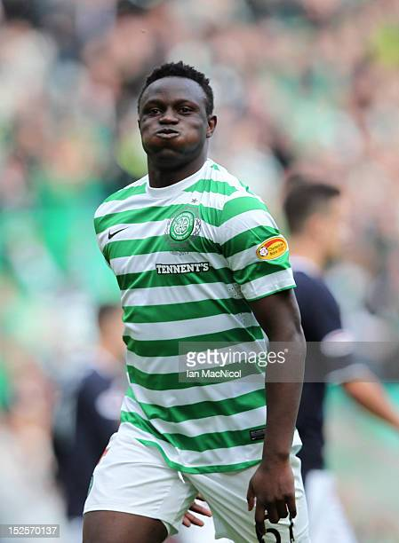 Victor Wanyama of Celtic celebrates scoring during the Clydesdale Bank Scottish Premier League match between Celtic and Dundee on September 22 2012...