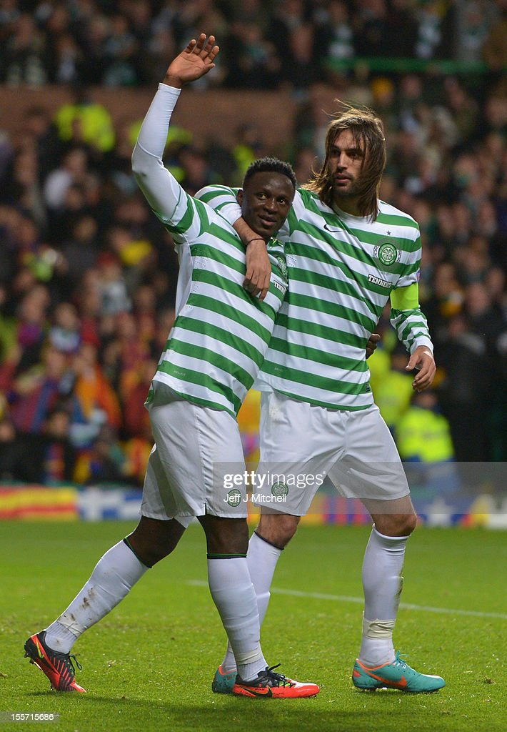 Victor Wanyama of Celtic celebrates with team-mate Giorgos Samaras after scoring during the UEFA Champions League Group G match between Celtic and Barcelona at Celtic Park on November 7, 2012 in Glasgow, Scotland.