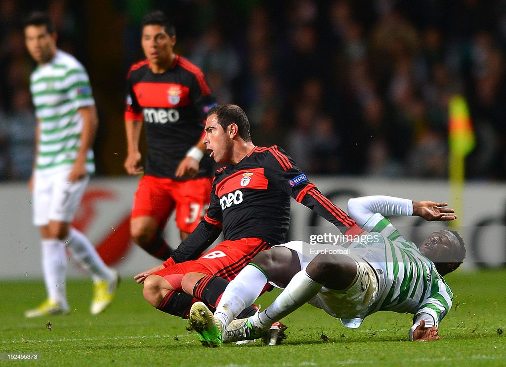 Victor Wanyama of Celtic FC and Bruno Cesar of SL Benfica challenge during the UEFA Champions League group stage match between Celtic FC and SL Benfica on September 19, 2012 at Celtic Park in Glasgow, Scotland.