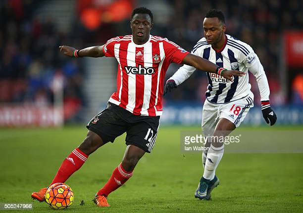 Victor Wanyama of Southampton and Saido Berahino of West Bromwich Albion compete for the ball during the Barclays Premier League match between...