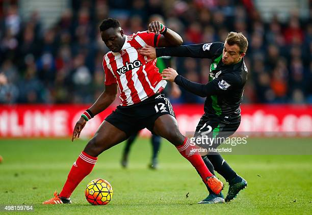 Victor Wanyama of Southampton and Xherdan Shaqiri of Stoke City compete for the ball during the Barclays Premier League match between Southampton and...