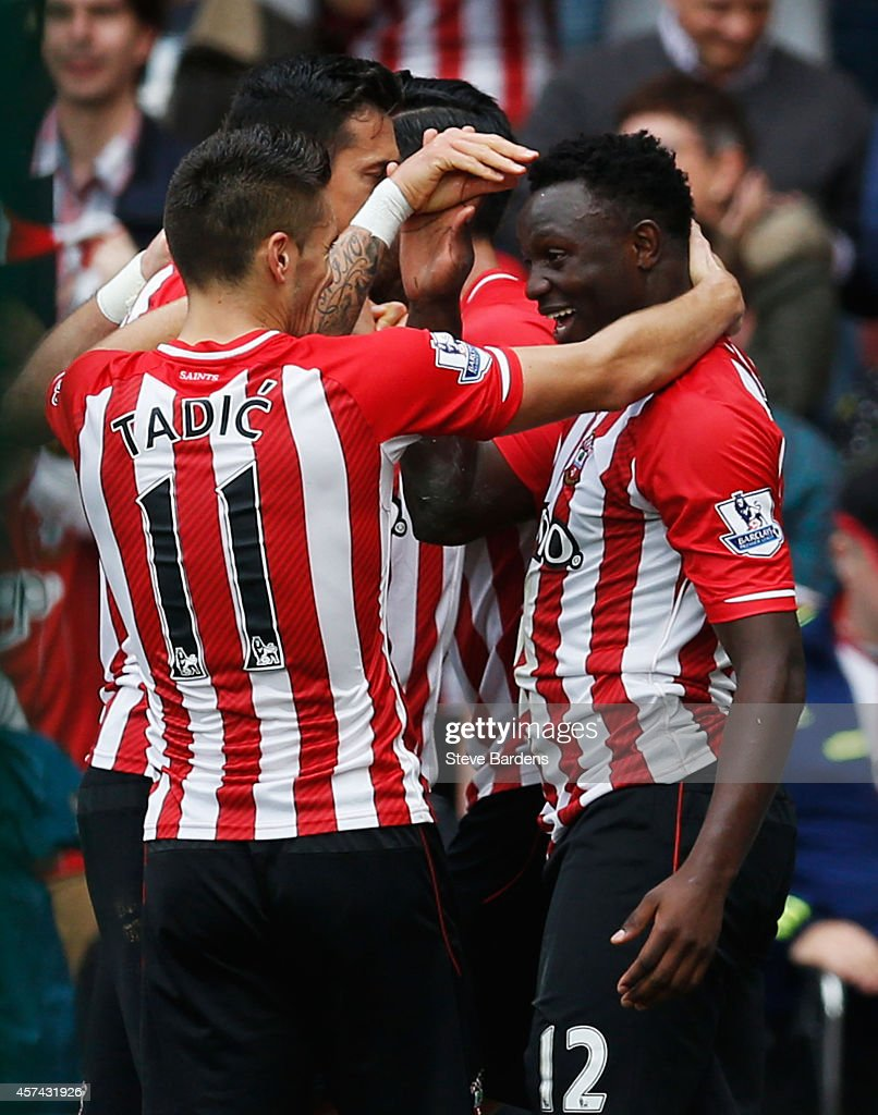 Victor Wanyama of Southampton (12) celebrates with team mates as he acores their seventh goal during the Barclays Premier League match between Southampton and Sunderland at St Mary's Stadium on October 18, 2014 in Southampton, England.