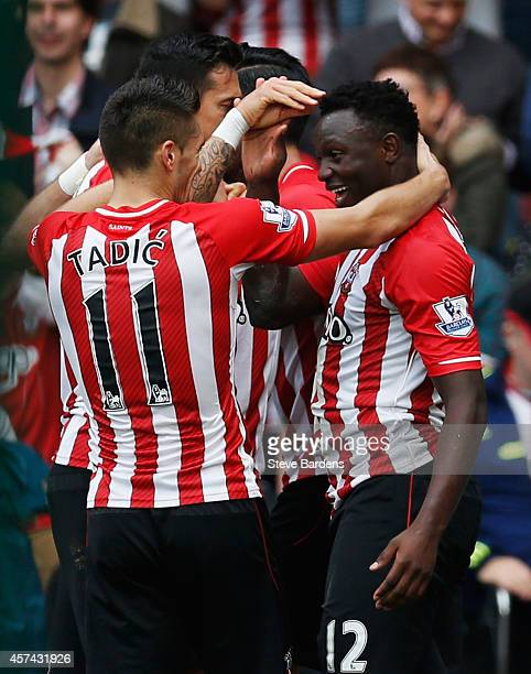 Victor Wanyama of Southampton celebrates with team mates as he acores their seventh goal during the Barclays Premier League match between Southampton...