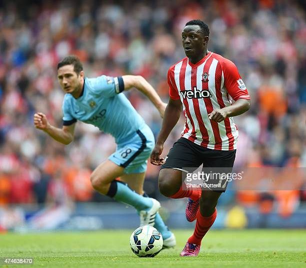 Victor Wanyama of Southampton in action during the Barclays Premier League match between Manchester City and Southampton at Etihad Stadium on May 24...