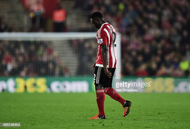 Victor Wanyama of Southampton looks dejected as he is sent off during the Barclays Premier League match between Southampton and AFC Bournemouth at St...