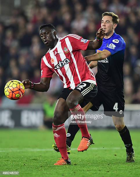 Victor Wanyama of Southampton shields the ball from Dan Gosling of Bournemouth during the Barclays Premier League match between Southampton and AFC...