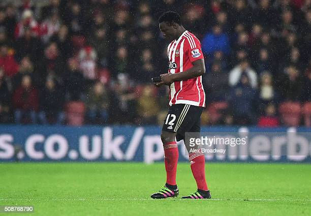 Victor Wanyama of Southampton walks off the pitch as he is sent off during the Barclays Premier League match between Southampton and West Ham United...