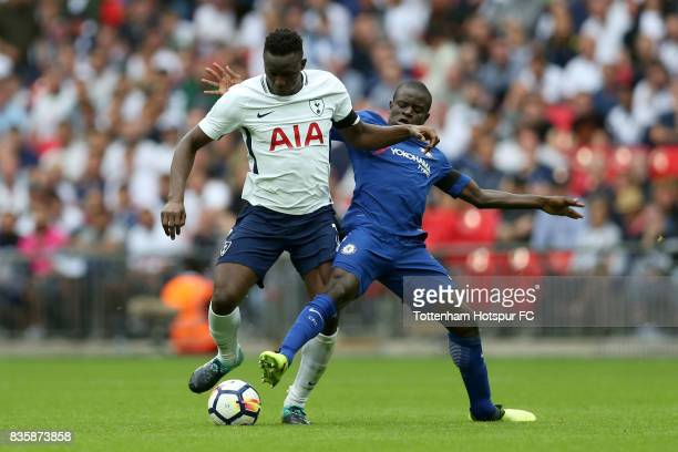 Victor Wanyama of Tottenham Hotspur and N'Golo Kante of Chelsea during the Premier League match between Tottenham Hotspur and Chelsea at Wembley...