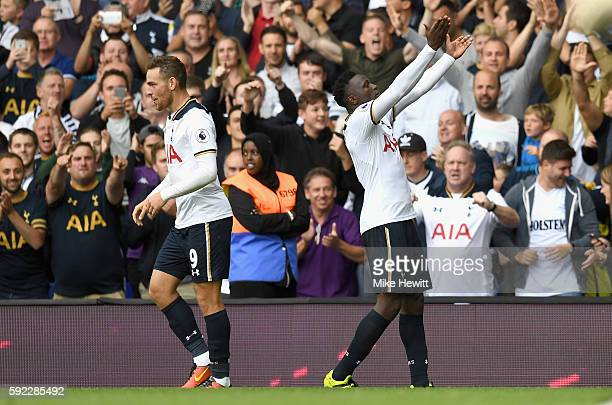Victor Wanyama of Tottenham Hotspur celebrates scoring his sides second goal during the Premier League match between Tottenham Hotspur and Crystal...