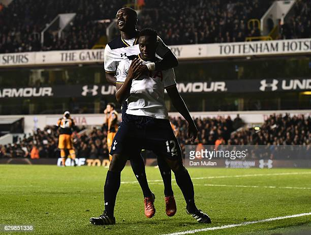 Victor Wanyama of Tottenham Hotspur celebrates scoring his sides third goal with Moussa Sissoko of Tottenham Hotspur during the Premier League match...