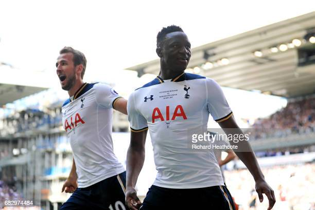 Victor Wanyama of Tottenham Hotspur celebrates scoring his sides first goal with Harry Kane of Tottenham Hotspur during the Premier League match...