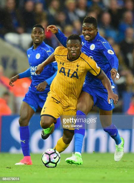 Victor Wanyama of Tottenham Hotspur evades Daniel Amartey and Wilfred Ndidi of Leicester City during the Premier League match between Leicester City...