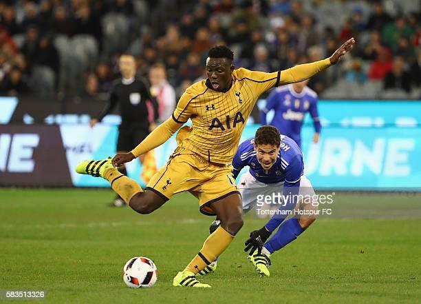 Victor Wanyama of Tottenham Hotspur kicks the ball during the 2016 International Champions Cup match between Juventus FC and Tottenham Hotspur at...