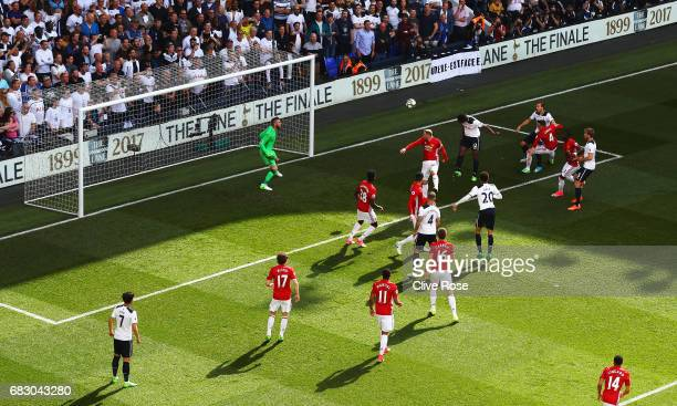 Victor Wanyama of Tottenham Hotspur scores his sides first goal past David De Gea of Manchester United during the Premier League match between...