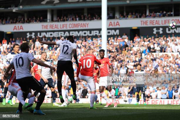 Victor Wanyama of Tottenham Hotspur scores his sides first goal during the Premier League match between Tottenham Hotspur and Manchester United at...