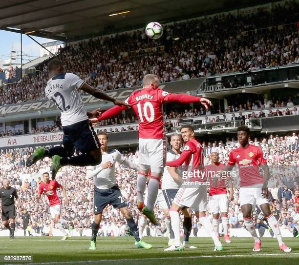 Victor Wanyama of Tottenham Hotspur scores their first goal during the Premier League match between Mancheser United and Tottenham Hotspur at White...
