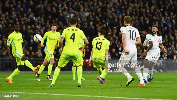 Victor Wanyama of Tottenham Hotspur scores their second goal during the UEFA Europa League Round of 32 second leg match between Tottenham Hotspur and...