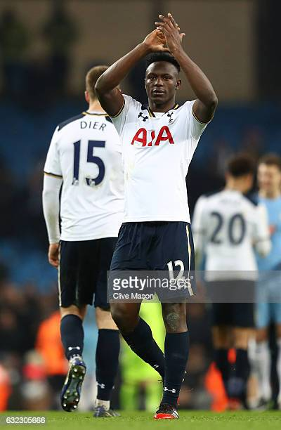Victor Wanyama of Tottenham Hotspur shows appreciation to the fans after the Premier League match between Manchester City and Tottenham Hotspur at...