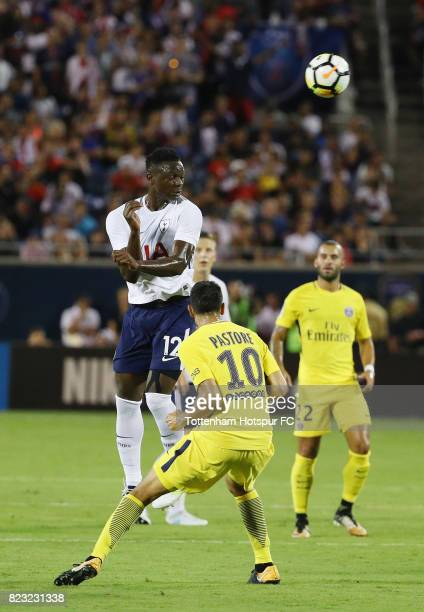 Victor Wanyama of Tottenham Hotspurs battles for the ball with Javier Pastore of Paris SaintGermain during a International Champions Cup 2017 game at...