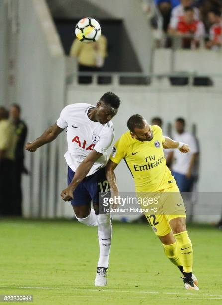 Victor Wanyama of Tottenham Hotspurs battles for the ball with Jese of Paris SaintGermain during a International Champions Cup 2017 game at Camping...