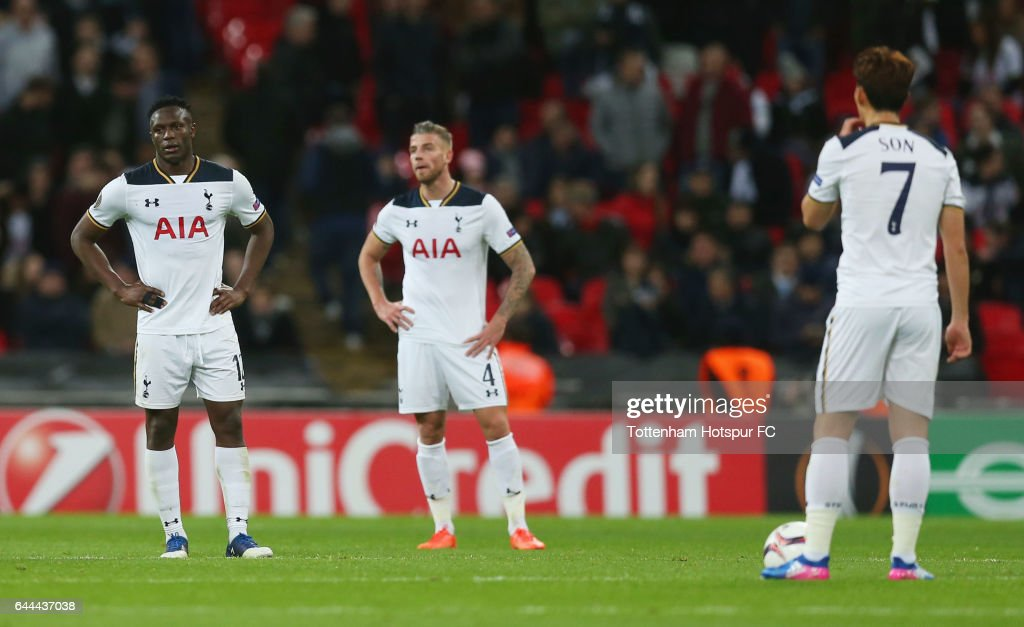 Victor Wanyama, Toby Alderweireld and Heung-Min Son of Tottenham Hotspur look dejected during the UEFA Europa League Round of 32 second leg match between Tottenham Hotspur and KAA Gent at Wembley Stadium on February 23, 2017 in London, United Kingdom.