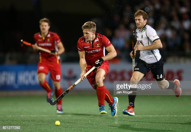 Victor Wegnez of Belgium controls the ball from Jan Philipp Rabente during day 9 of the FIH Hockey World League Men's Semi Finals final match between...