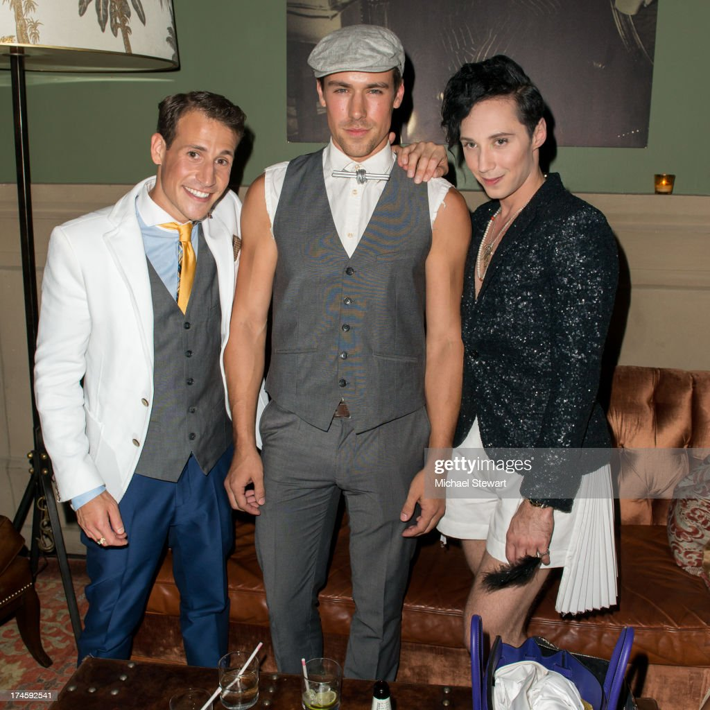 Victor Weir-Voronov, MSA model Gavin Eastlack and Johnny Weir attend Johnny Weir & Victor Weir-Voronov's Birthday Celebration at Soho Grand Hotel on July 27, 2013 in New York City.