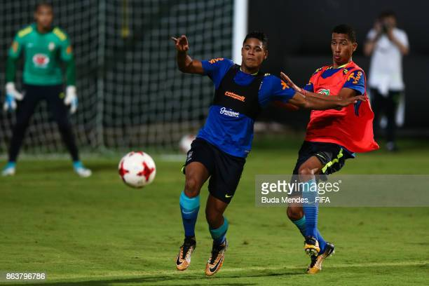 Victor Yan and Weverson of Brazil in action during the training session ahead of the FIFA U17 World Cup India 2017 tournament at Kolkata 2 Training...