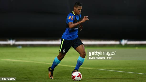 Victor Yan of Brazil in action during the training session ahead of the FIFA U17 World Cup India 2017 tournament at Kolkata 2 Training Centre on...