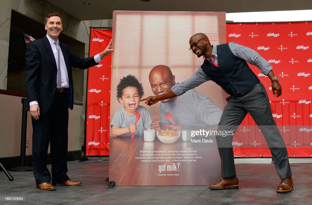 Victor Zaborsky, Marketing Director, MilkPEP (Milk Processor Education Program), and actor Taye Diggs attend the unveiling of the new Milk Mustache 'got milk?' ad campaign at Hollywood and Highland on March 5, 2013 in Hollywood, California. Taye Diggs and son Walker star in a Milk Mustache Ad showcasing the role milk's protein plays at their breakfast table. The ad supports Kellogg's efforts to share breakfast with children in need through the Share Breakfast program.