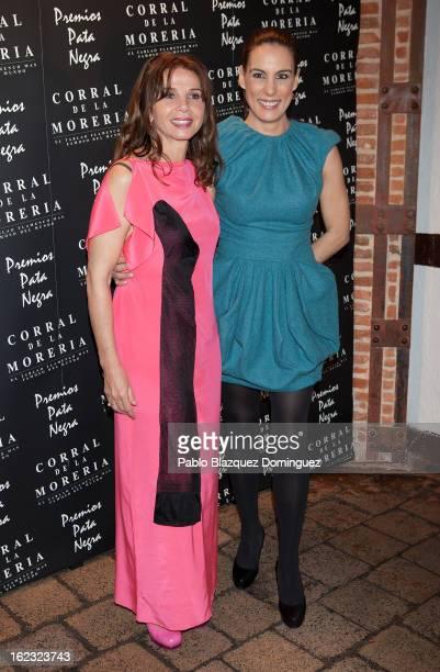 Victoria Abril and Alicia Senovilla attend the 'Pata Negra' Awards at Corral de la Moreria on February 21 2013 in Madrid Spain