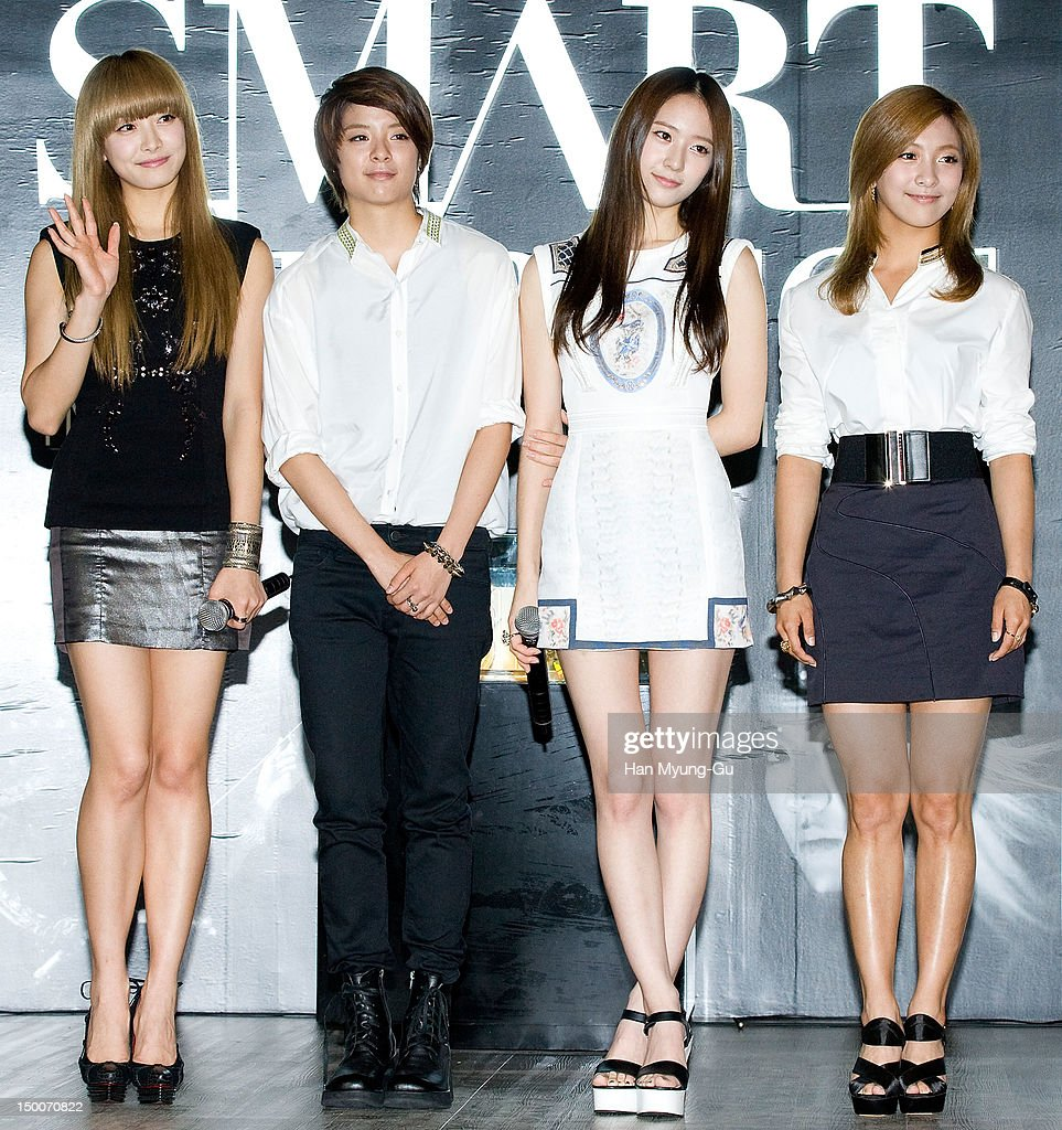 Victoria, Amber, Krystal and Luna of South Korean girl group f(x) attend during the 'S.M.ART Exhibition' opening ceremony held at Coex on August 09, 2012 in Seoul, South Korea.