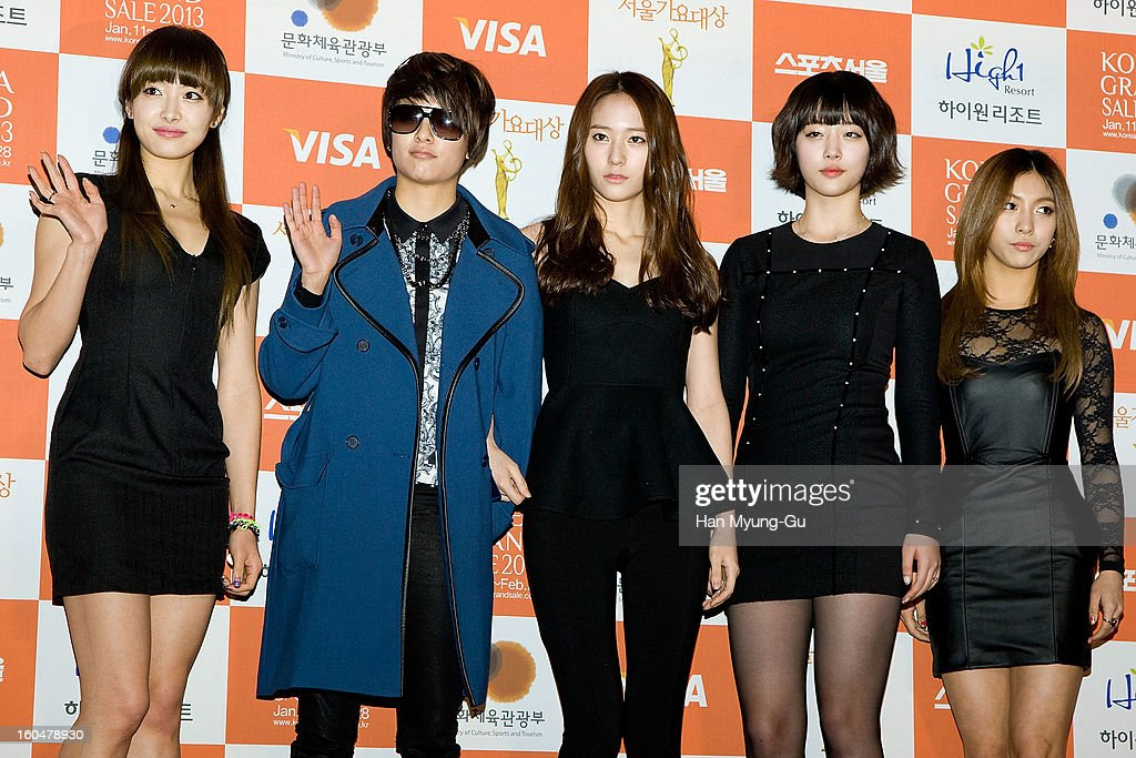 Victoria, Amber, Krystal, Sulli and Luna of girl group f(x) attend the 22nd High1 Seoul Music Awards at SK Handball Arena on January 31, 2013 in Seoul, South Korea.