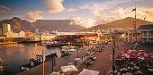 Victoria and Alfred Waterfront in Cape Town with Table Mountain and Signal Hill in the background. Western Cape Province, South Africa