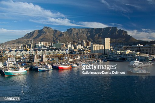 Victoria and Alfred Waterfront with Table Mountain in the distance, Cape Town, South Africa : Stock Photo