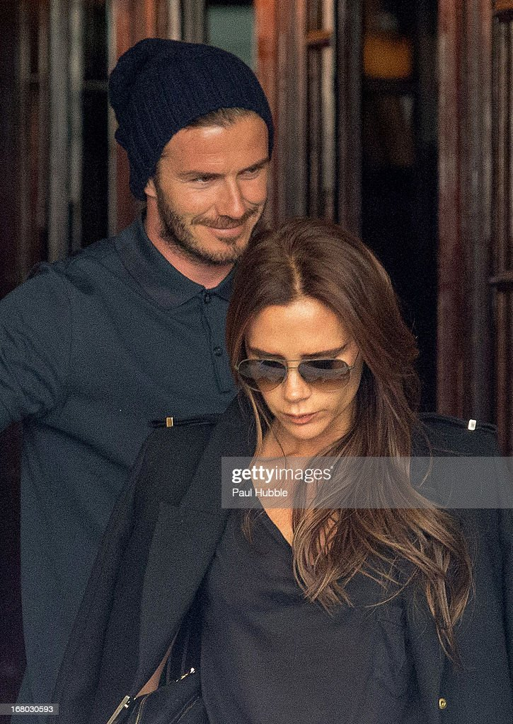 Victoria and <a gi-track='captionPersonalityLinkClicked' href=/galleries/search?phrase=David+Beckham&family=editorial&specificpeople=158480 ng-click='$event.stopPropagation()'>David Beckham</a> are seen leaving the 'COSTES' hotel and restaurant on May 4, 2013 in Paris, France.