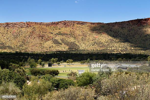 Victoria and Queensland play at the picturesque Albrecht Oval during the 20415 Imparja Cup on February 13 2015 in Alice Springs Australia
