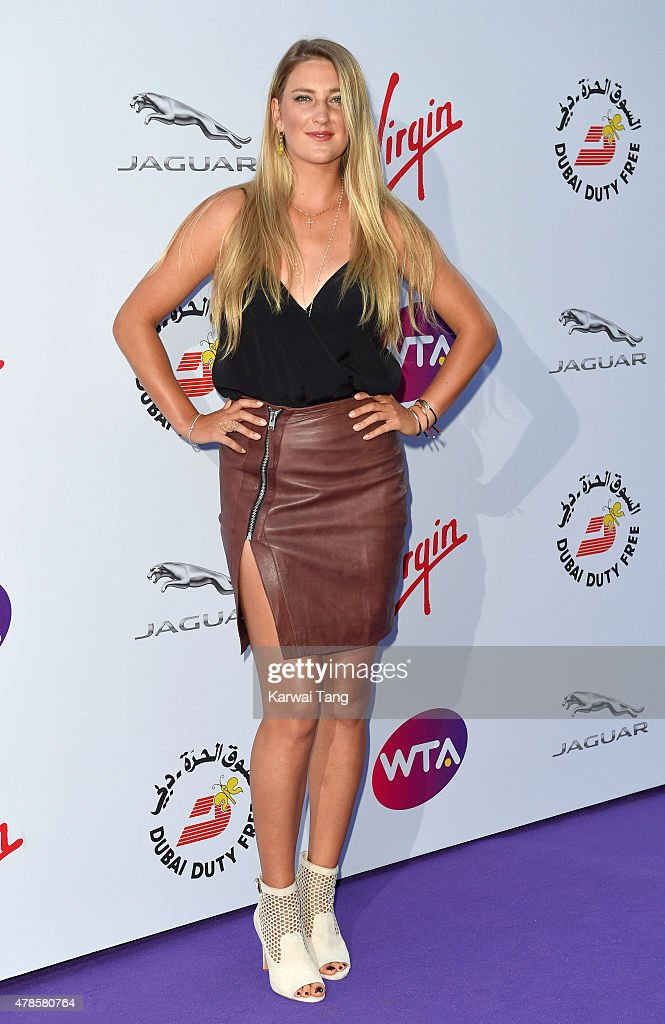 <a gi-track='captionPersonalityLinkClicked' href=/galleries/search?phrase=Victoria+Azarenka&family=editorial&specificpeople=604872 ng-click='$event.stopPropagation()'>Victoria Azarenka</a> attends the WTA Pre-Wimbledon Party at Kensington Roof Gardens on June 25, 2015 in London, England.